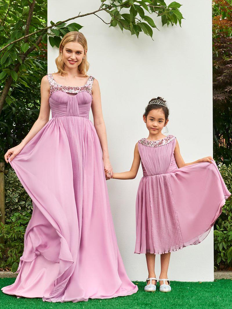 Ericdress A Line Sequin Straps Pleats Long Parent-Child Evening Dress