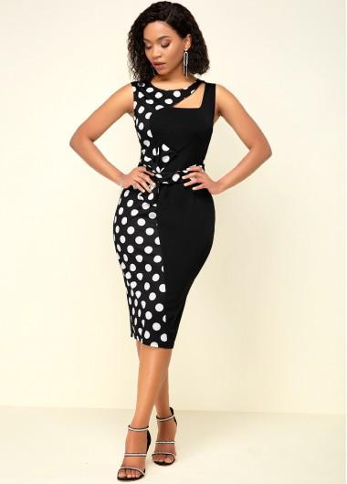Black Dresses High Waist Black Polka Dot Print Dress - L