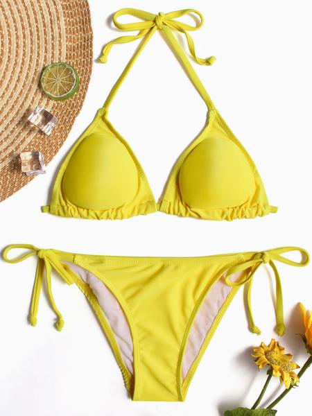 Yoins Yellow Halter V-neck Tie-up Design Bikini