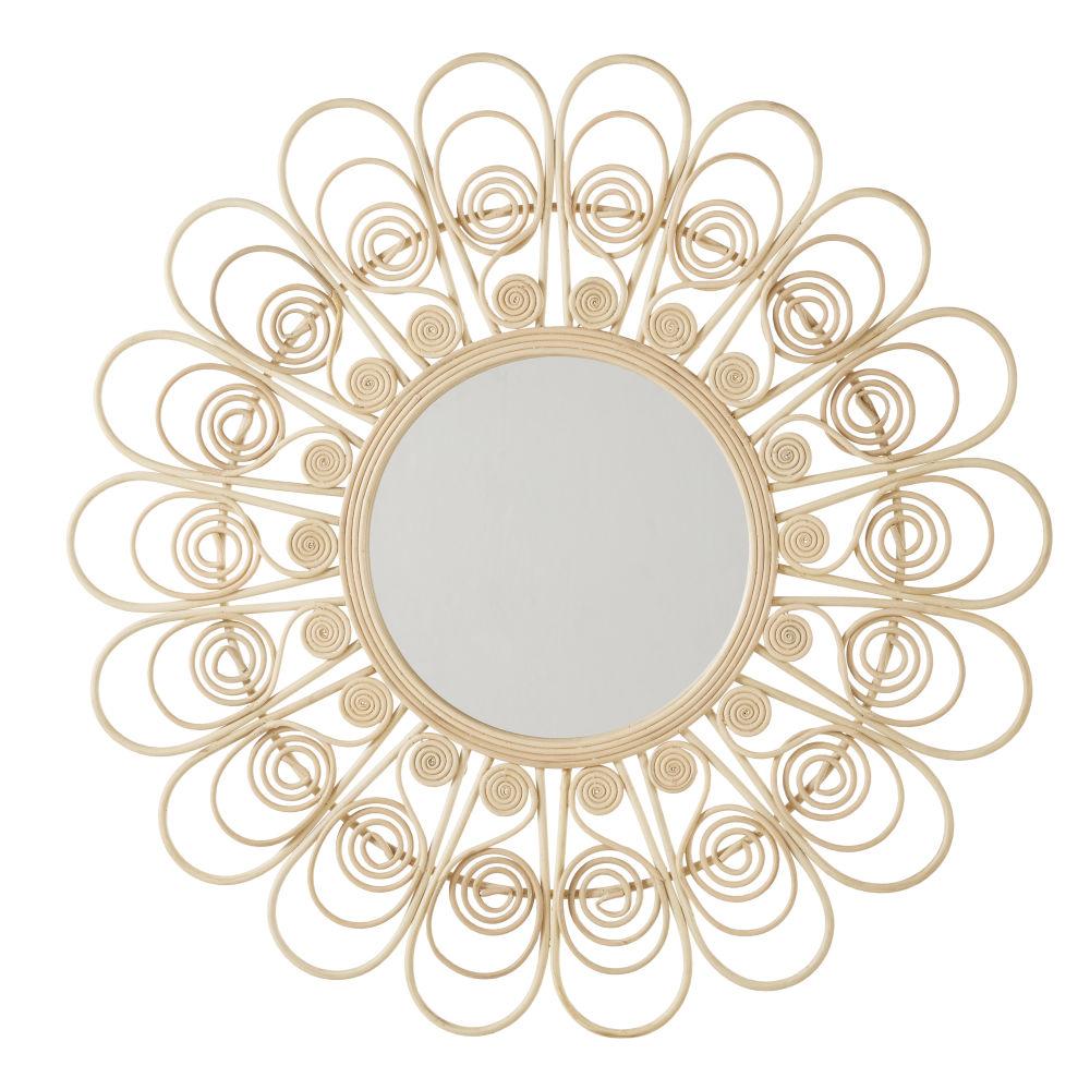 Blumenformiger Spiegel aus Rattan D100