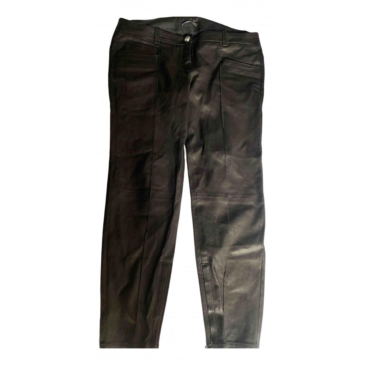 Balmain \N Black Leather Trousers for Women 42 FR