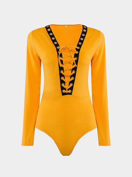 Yoins Yellow Plunge V-neck Bodysuit with Front Drawstring