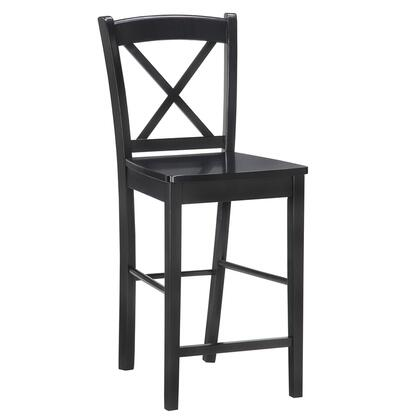 01710BLK-01-KD-U Bar Height Stool with X-Back Design  Footrest Support  Curved Backrest and Vietnamese Mahogany Wood Construction in Black