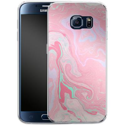 Samsung Galaxy S6 Silikon Handyhuelle - Marbled Effect Pink von Emanuela Carratoni