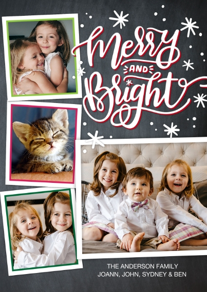 Christmas Photo Cards 5x7 Cards, Standard Cardstock 85lb, Card & Stationery -Christmas Merry Bright Stars by Tumbalina