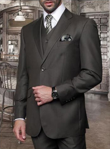 Statement Mens Olive 3 Piece 2 Button Italian Designer Suit