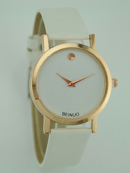 Milanoo Women's Quartz Watch Round Dial Leather Band Simple Style Analog Fashion Watch
