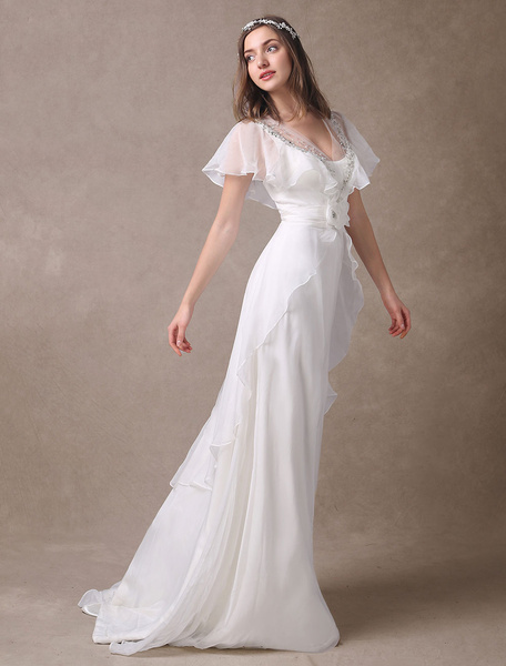 Milanoo Glamorous Court Train Ivory Bridal Wedding Dress With Beading V-Neck