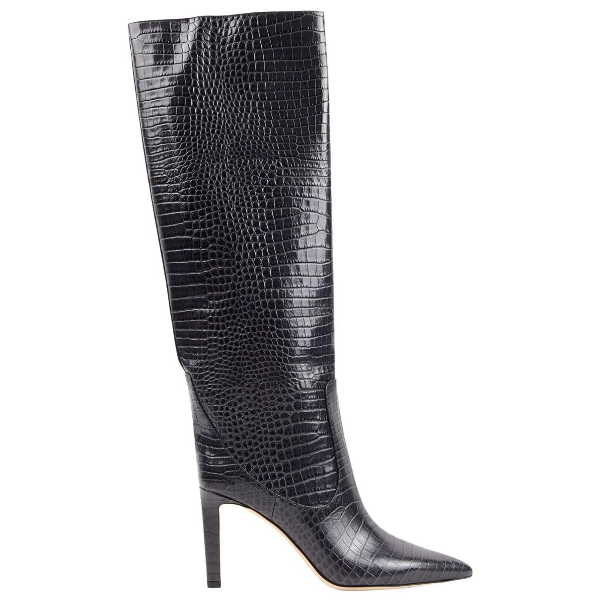 Jimmy Choo Mavis Grey Leather Boots for Women 40 EU