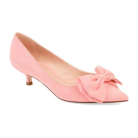Journee Collection Womens Orana Pumps Slip-on Pointed Toe Kitten Heel, 11 Medium, Pink