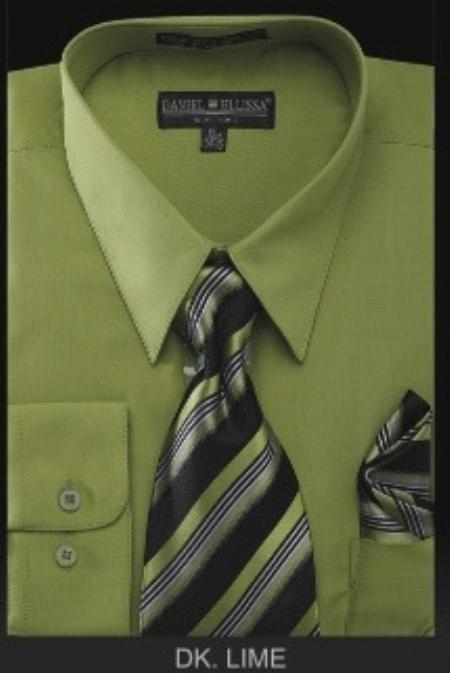 Mens Dress Shirt PREMIUM TIE Dark Lime