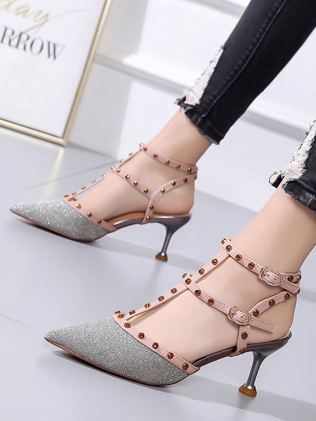 Milanoo Pointed Toe Heels Pink Glitter T Type Rivets Ankle Strap Pumps For Women