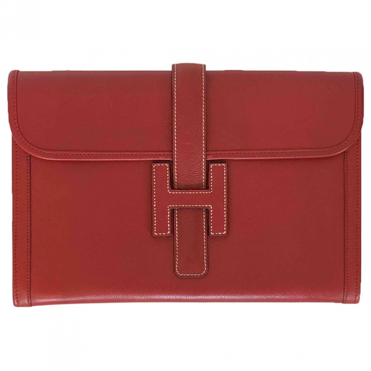 Hermès Jige Red Leather Clutch bag for Women \N