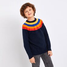 Boys Rainbow Striped Sweater
