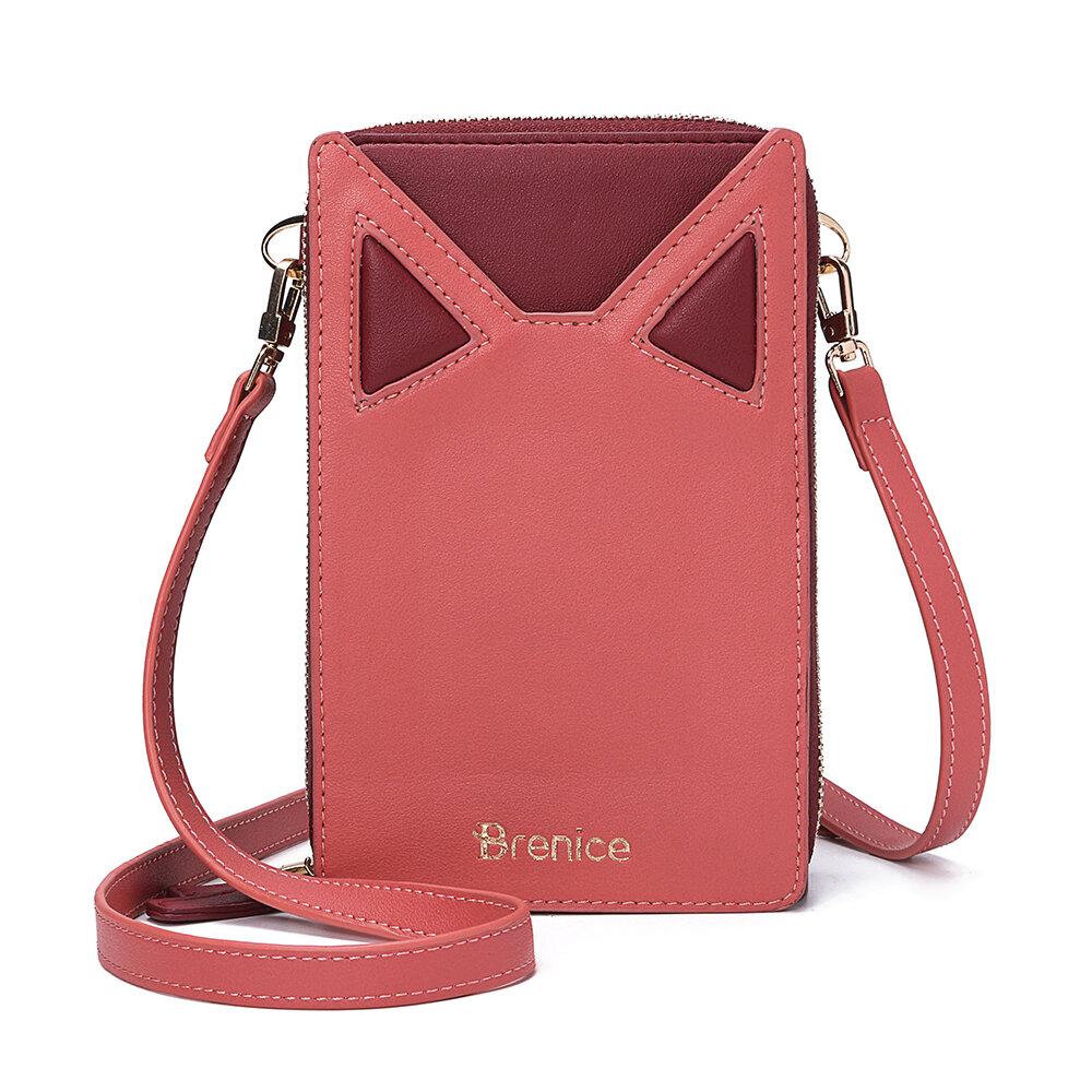 Women Cute Cat Ears Card-slots Phone Bag Crossbody Bag
