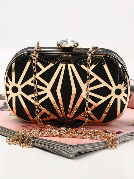 Milanoo Evening Clutch Bags Rhinestones Party Handbags PU Detachable Strap Women Accessories