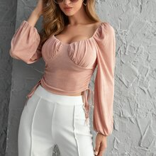 Ruched Bust Drawstring Ruched Side Top
