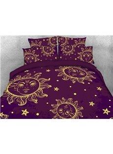 Sun and Moon Soft Comfortable Duvet Cover Set 4-Piece Cartoon Bedding Set