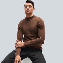 Men Solid Mock Neck Sweater