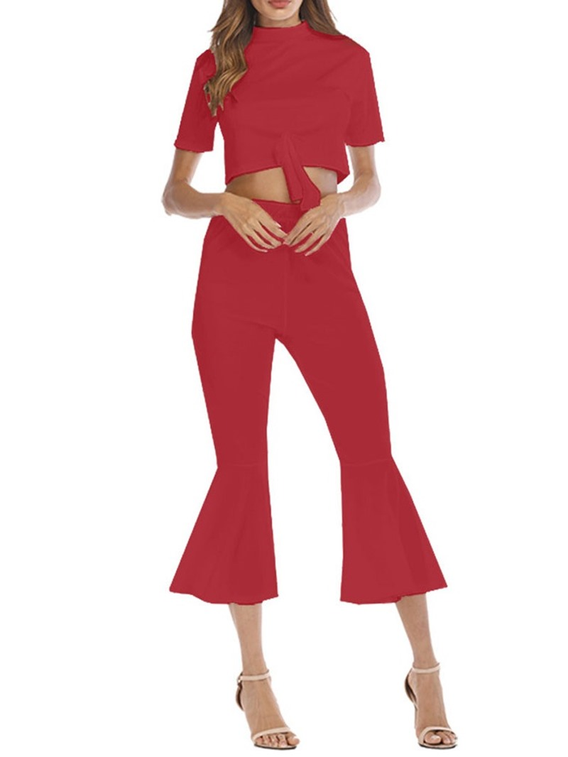 Ericdress Plain Bowknot Stand Collar Bellbottoms Two Piece Sets