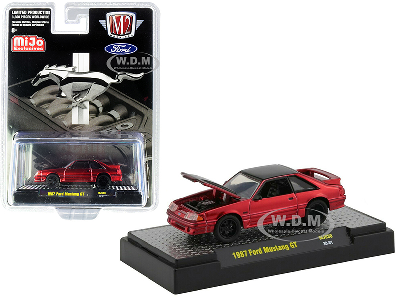 1987 Ford Mustang GT Candy Red and Black Limited Edition to 3300 pieces Worldwide 1/64 Diecast Model Car by M2 Machines