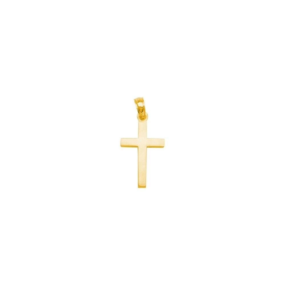 Curata 14k Yellow Gold Straight Edged High Polished Cross Pendant