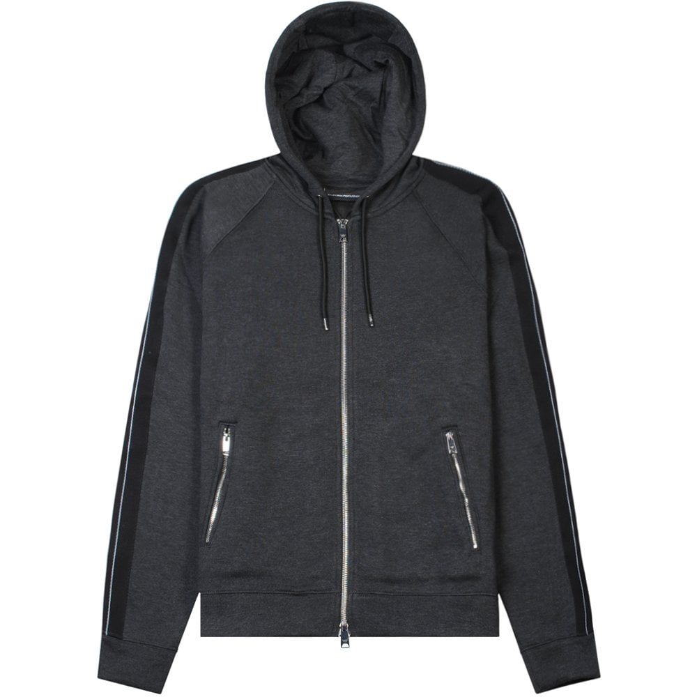 Emporio Armani Panelled Hoodie Grey Colour: GREY, Size: EXTRA EXTRA LARGE