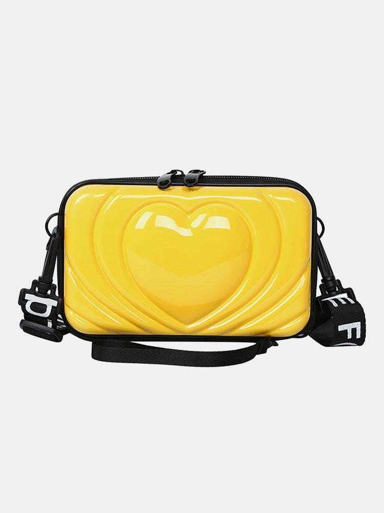 Women 6.5 Inch Love Solid Trunk Phone Bag Crossbody Bag
