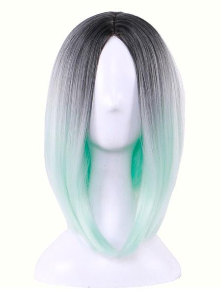 Milanoo Pelucas de pelo de Carnaval que resaltan la parte central de Bob Estilo recto pelucas sinteticas