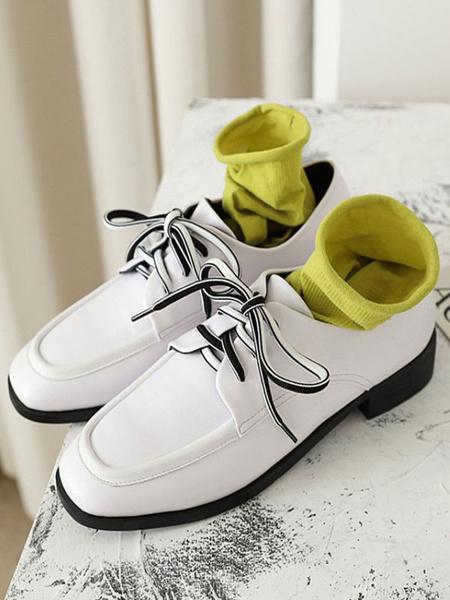 Milanoo Zapatos casuales blancos Zapatos Oxford con cordones de punta cuadrada para mujer
