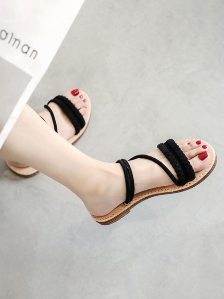 Milanoo Flat Sandals For Woman Casual Woven Flat Micro Suede Upper