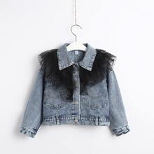 Denim Jacke mit sehr tief angesetzter Schulterpartie und mehrschichtigem Netzstoff