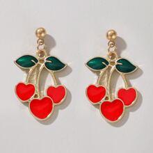 Cherry Heart Drop Earrings