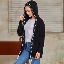 Lace Up Ribbed Knit Hooded Cardigan