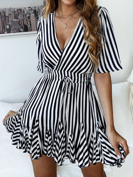 Milanoo Striped Summer Dresses Half Sleeve Plunging Ruffles Shaping Mini Dress