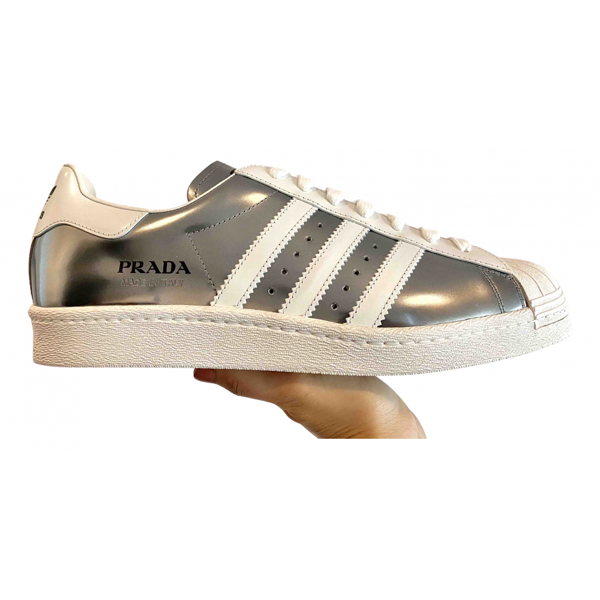 Prada X Adidas - Baskets   pour femme en cuir - argente