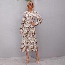 Allover Print Ruffle Hem Dress