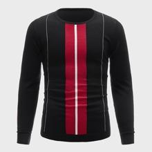 Men Striped Round Neck Sweater