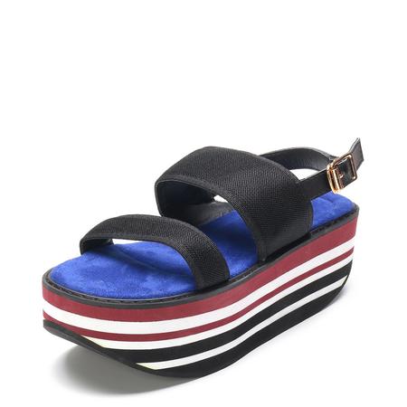 Yoins Net Design Stripe Cross Front Platfrom Sandals