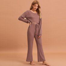 Solid Waffle Knit Pajama Set