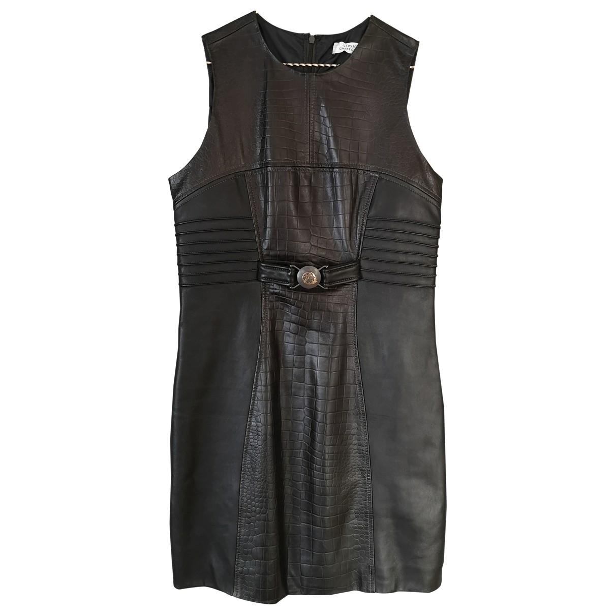 Versace \N Kleid in  Khaki Leder