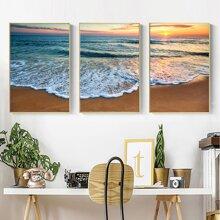 3 Stuecke Wandmalerei mit See Muster ohne Rahmen