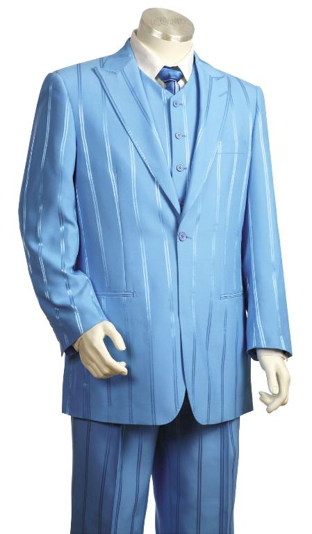 3 Piece Powder Light Blue Ton on Ton Shadow Stripe Zoot Suit Mens