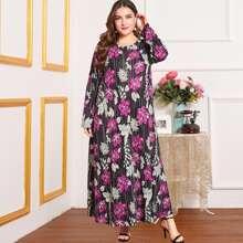 Kleid mit Punkten und Blumen Muster