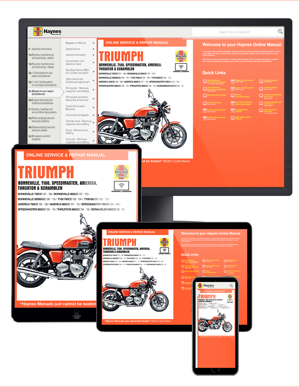 Triumph Bonneville Haynes Online Manual covering Bonneville, T100, Speedmaster, America, Thruxton and Scrambler (01-15) (See specific years covered...
