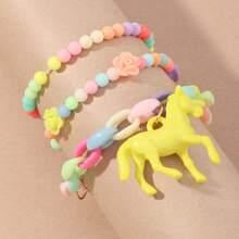 3pcs Toddler Girls Flower Decor Beaded Bracelet