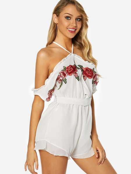 Yoins White Floral Rose Embroided Self-tie Fashion Playsuit