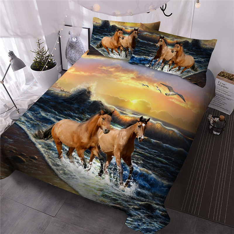 Horse Print Comforter Set Reactive Printing Three-Piece Set Hand Wash Polyester Bedding Sets Ultra-soft No-fading Twin Full Queen King