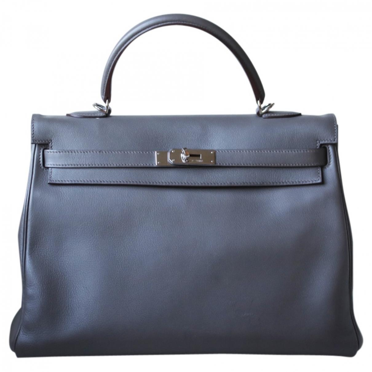Hermes Kelly 35 Handtasche in  Grau Leder