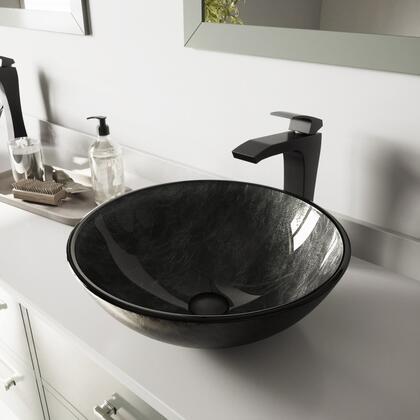 VGT577 Gray Onyx Glass Vessel Bathroom Sink Set With Blackstonian Vessel Faucet in Matte